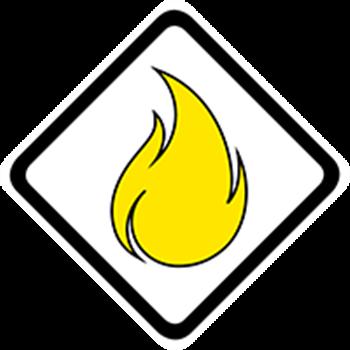 Bushfire warning Advice icon (black background)