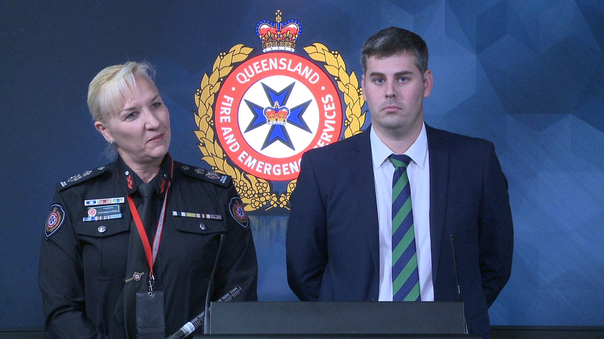 Police, Fire and Emergency Services Minister Mark Ryan and Queensland Fire and Emergency Services (QFES) Commissioner Katarina Carroll remind Queenslanders to stay safe at the 'If it's flooded, forget it', launch.
