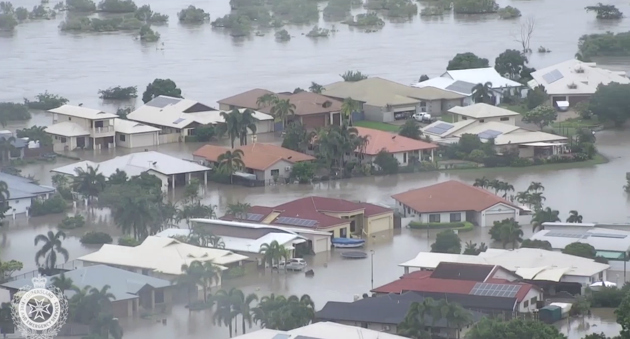 Aerial footage of flooding in Annandale.