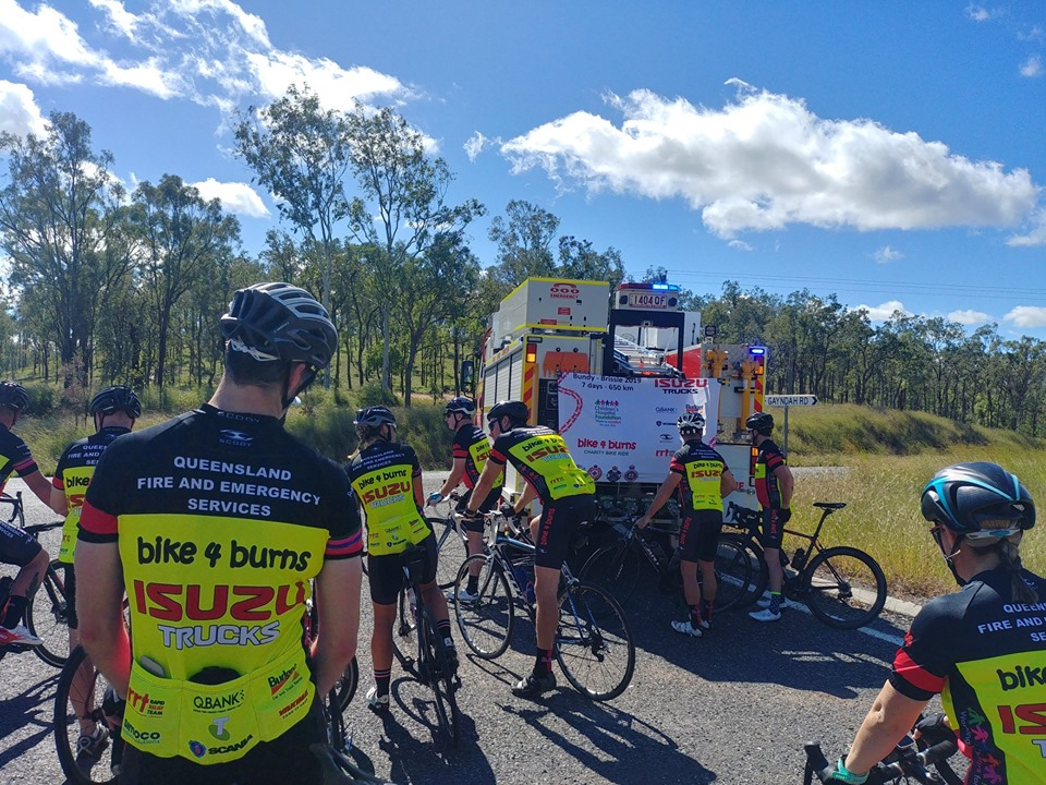 Firefighters cycle for burns victims