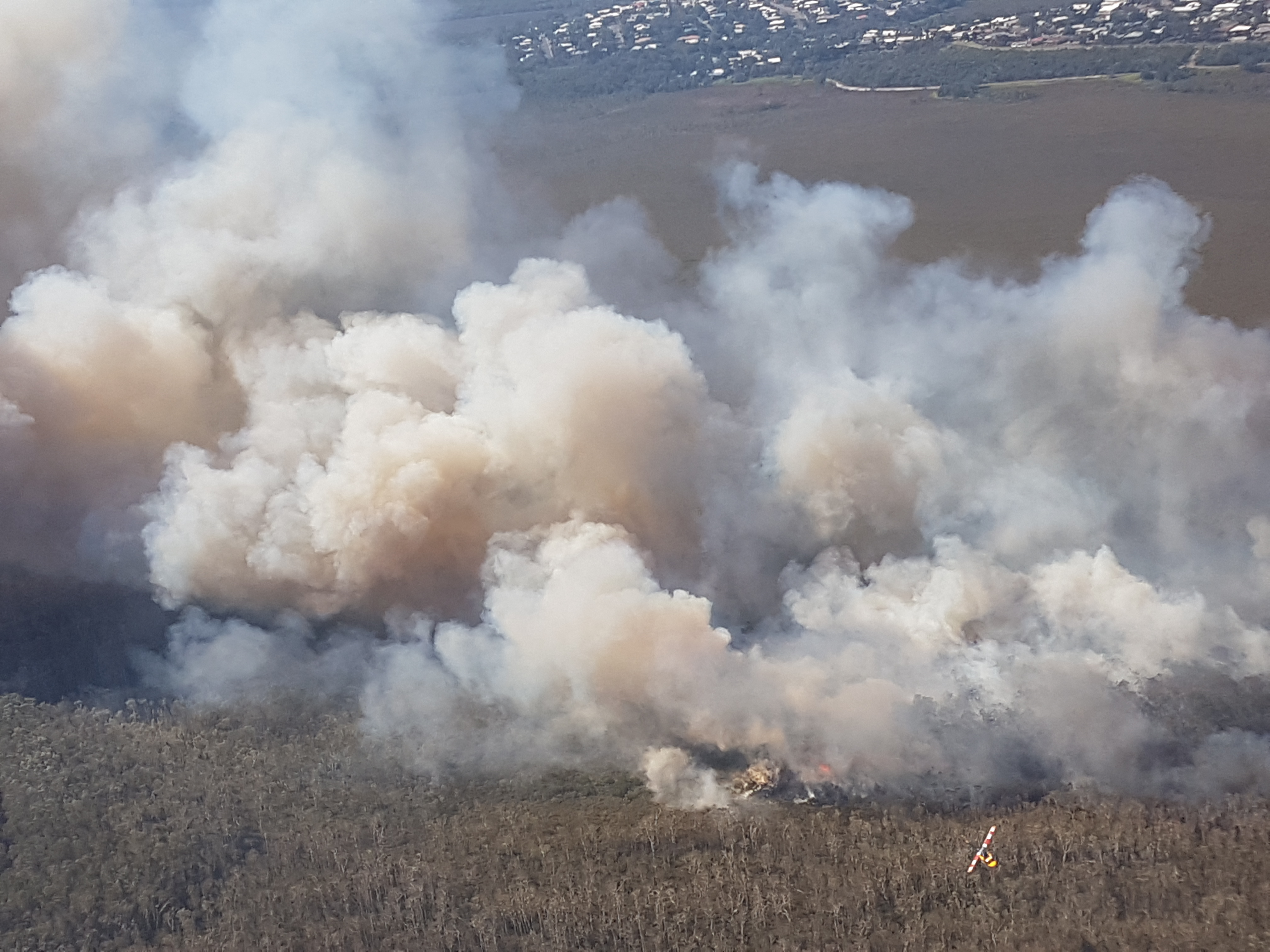 Efforts by QFES Air Ops in an aerial attack over Peregian