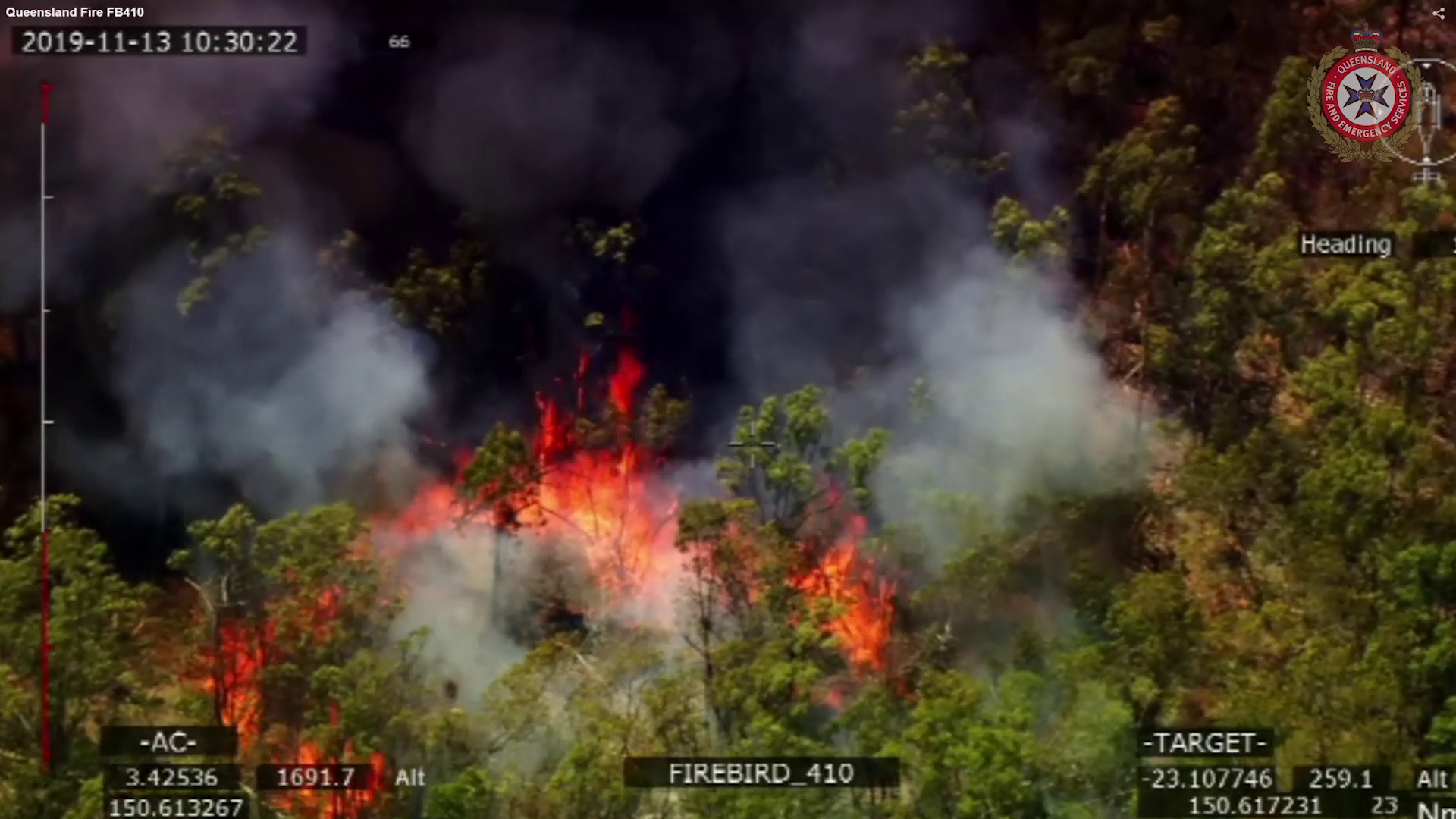 Aerial footage of the Queensland Fires 13 November 2019