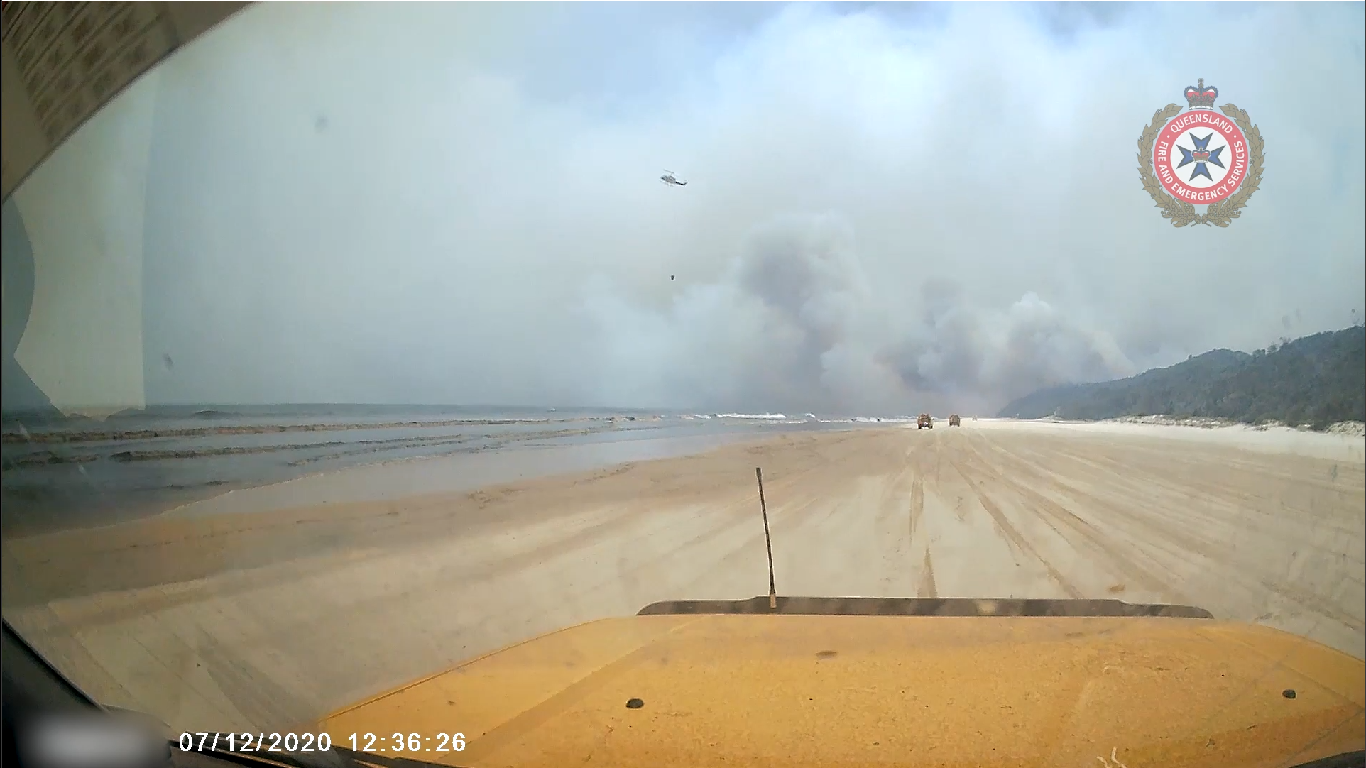 Dashcam vision from a Rural Fire Truck from 5/12-7/12 in the midst of firefighting operations on K'Gari.