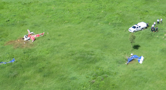 Donnington ultralight crash scene